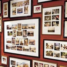 I love how these are grouped and themed so that each framed collage is a seperate trip, yet the whole wall is of all the family's travels. I like how they labeled each collection.