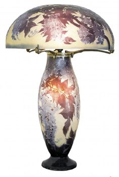 Emile Galle carved cameo glass table lamp, c. 1910