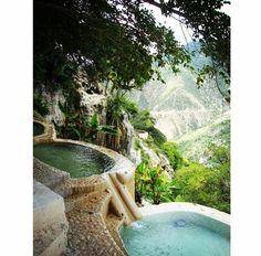 Hot water pools at Grutas de Tolantongo, Mexico.