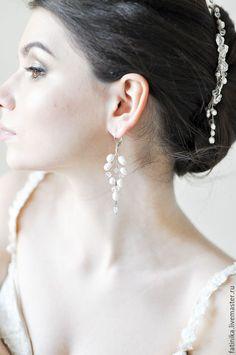 Свадебные серьги, серьги для невесты, серьги невесты, украшения для невест, длинные серьги, серьги из речного жемчуга, серьги, серьги серебро 925 пробы, серьги с жемчугом, аксессуары для невест