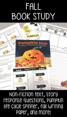 Fall book study - Pumpkin Jack book companion - science, art, non-fiction texts, fall writing paper, life cycle activities and more! Perfect for fall or Halloween reading! Autumn Activities, Literacy Activities, Teaching Materials, Teaching Ideas, Fallen Book, Teacher Resources, Learning Resources, Pumpkin Jack, Book Study