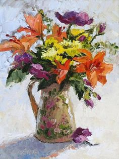 'Fabulous Flowers' by Erin Dertner | Original Oil Painting ~ 9 x 12 | Available for sale $200