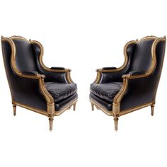 Pair of Leather Armchairs in the style of Maison Jansen, France 1st half of 20th Century