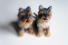 Customized Dog Portrait Sculpture, Needle Felted Mini Schnauzer Dog, Stocking Stuffer, Miniature Pet, Felt #Schnauzer Mutt, Felt Animal by #JanetsNeedleFelting on Etsy