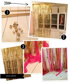 Gold + Arrow: diy photo backdrop, use black streamers instead of pink