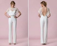 As mentioned above – Jasmine was a princess who knew how to wear trousers. So it makes sense she'd choose a bridal jumpsuit. We love this wedding jumpsuit from Gemy Maalouf which has a pretty lace top and daring open back. Wedding Robe, Wedding Pantsuit, Wedding Dress Types, Disney Wedding Dresses, Civil Wedding, Designer Wedding Dresses, Bridal Jumpsuit, Jumpsuit Dress, Denim Jumpsuit