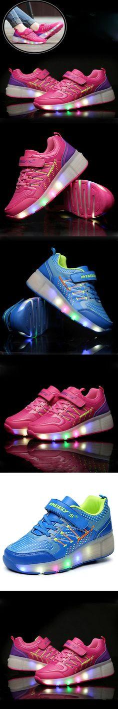 Quality Child Jazzy Heelys, Junior Girls/Boys LED Light Heelys, kids Roller Skate Shoes, children Sneakers With Wheels $29.8
