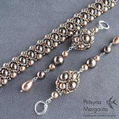 Long beaded earrings BRONZE with swarovski pearl
