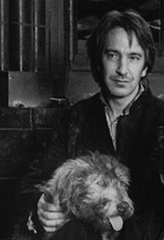 AR with puppy. The Preacher and his dog. One of the best Rickman roles.