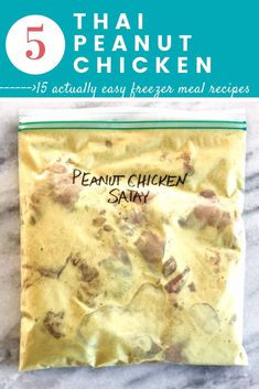 Easy chicken freezer meal recipes like this Thai Peanut Chicken are so great for busy moms! This post is EPIC and has 15 easy freezer meals anyone can make. #easyfreezermeals #freezermeals #healthyfreezermeals | happymoneysaver.com