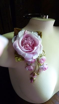 SALE Silk Flower with Satin in Sweet Pink for Millinery, Corsages, Hats, Sashes, Gowns