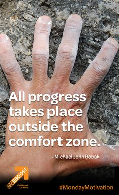 """All progress takes place outside the comfort zone."" ~Michael John Bobak EBOOSTers what's the last thing you accomplished last time you stepped outside of your comfort zone? Inspiration For The Day, Fitness Inspiration, Monday Motivation, Fitness Motivation, Healthy Energy Drinks, Pre Workout Supplement, How To Increase Energy, Comfort Zone, Mental Health"
