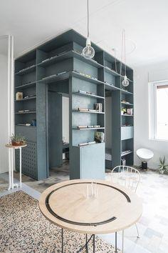 First Home Decor House N, Milan, Italy / Quinzii Terna Architecture urdesignmag Ikea Furniture, Furniture Design, Terrazzo Flooring, Deco Design, Cheap Home Decor, Surface Design, Living Area, Shelving, Architecture Design