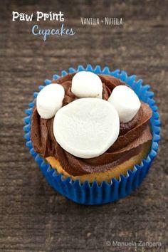 Marshmallow Paw Print Cupcakes
