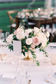 Blush and white compote arrangement wedding centerpieces Wente Vineyards California Wedding with Sweet Style Blush Wedding Flowers, Floral Wedding, Wedding Bouquets, Pale Pink Weddings, Tropical Weddings, Rose Flowers, Fall Wedding, Dream Wedding, Short Wedding Centerpieces