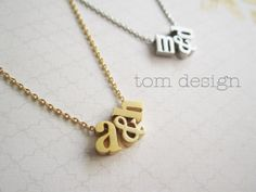 Tiny Gold or Silver Lowercase Initial & Ampersand Necklace | Jane