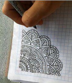 Easy Mandala Drawing, Mandala Doodle, Simple Mandala, Mandala Art Lesson, Mandala Artwork, Mandala Painting, Easy Doodle Art, Doodle Art Designs, Doodle Art Drawing
