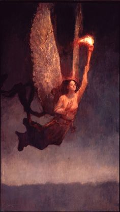 """Art by J Kirk Richards - Angel with Torch - 2003.... Looks like a symbol of Lucifer (""""Bringer/ bearer of light"""") to me!"""
