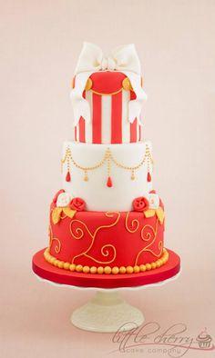 Red, Gold And Ivory Wedding Cake Based on a design by Planet Cake :) x Wedding Cake Base, Ivory Wedding Cake, Cool Wedding Cakes, Beautiful Wedding Cakes, Gorgeous Cakes, Pretty Cakes, Wedding Cake Toppers, Amazing Cakes, Gold Wedding