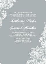 Elegant Gray White Lace Wedding Invitation