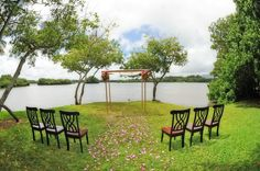 Beautiful Intimate Ceremony set up at Moli`i Gardens Lower lawn near our fishpond.