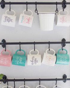 Ikea Mug Rack in Chalkfulloflove's kitchen! Snag a mug at Chalkfulloflove.com