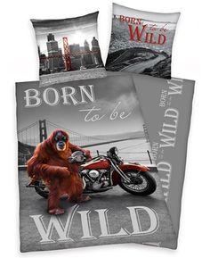This Born To Be Wild Orangutan Single Duvet Cover Set features an orangutan posing with his motorbike in front of the Golden Gate Bridge.