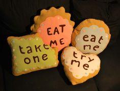 "Alice cookie ""eat me"" pillow"