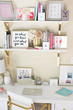 Shelving is a good area to mix it up a bit + gold brackets are perfect starting place.