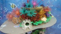 Sea urchins, anemones (made from toilet paper rolls), coral reef (made from corrugated paper and cardboard ) VBS Submerged!