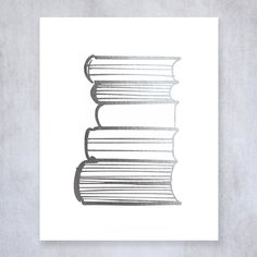 Stack of Books Silver Foil Print Poster Library Print Reading Study Modern Wall Art Decor 8 inches x 10 inches A19. Digibuddha(TM) real foil art prints are made by hand in our small shop just outside of Philadelphia. • Made with gorgeous luxe silver foil and premium pure white matte card stock. • Prints arrive unmatted, ready to be placed in your favorite frame. • Original design: all Digibuddha(TM) paper goods are exclusively created in-house by our design team. /// Stack of Books ///...