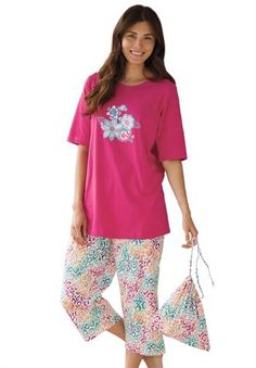 Plus Size 3-piece pajamas with bonus bag by Dreams & Co.® from Woman Within