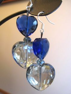 Blue, Extra Sparkly, Glass Heart Earrings: Valentine's Day Earrings | SmithNJewels - Jewelry on ArtFire