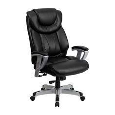 Offex Hercules Series Big and Tall Black Leather Office Chair with Arms [OF-GO-1534-BK-LEA-GG]