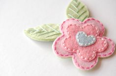 Pink and Blue Blossom Hair Clip by SewSweetStitches on Etsy, $8.00