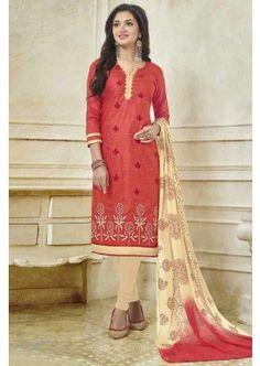Red color Bhagalpuri Cotton Churidar Suit, -  £60.00,  #Churidaruk  #Churidarsuitsuk  #Pakistanisalwarkameez  #Onlinechuridaruk  #Shopkund