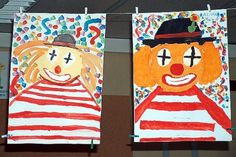 Clowns - painting with opaque colors - Art Education ideas Art For Kids, Crafts For Kids, Preschool Crafts, Art Education Lessons, Textiles, Circus Theme, Science And Nature, Art School, Techno