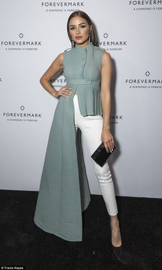Olivia Culpo sparkled at the Forevermark Black Label Collection Launch at Cedar Lake in New York City - interesting cornflower blue John Paul Ataker gown , which from one side looked like a full length dress, but from the other appeared to be a short top. Look Fashion, Hijab Fashion, Fashion Dresses, Womens Fashion, Fashion Design, Fashion Beauty, Fashion Trends, Classy Outfits, Chic Outfits