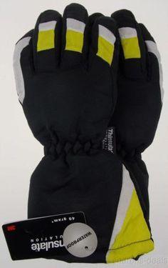 Joe Boxer Boys Yellow Black Ski Gloves 3M Thinsulate Waterproof Snow Winter NEW