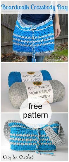 Boardwalk crossbody bag, free crochet pattern.