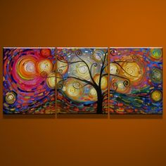 Tree and Starry Night Hand-painted Canvas Art
