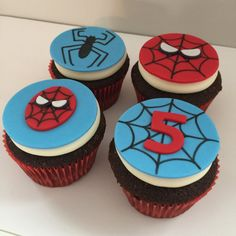 12 Spiderman Inspired Cupcake Toppers-Fondant - Each set includes: 3 Spiders, 3 Red Spiderman Face, 3 Blue Spiderman Face, 3 Web with Age (please n - Spiderman Theme, Superhero Cake, Spiderman Face, Easter Cupcakes, Fondant Cupcakes, Cupcake Cakes, Spiderman Cupcake Toppers, Bolo Minnie, Novelty Birthday Cakes