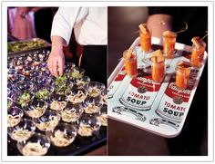 Mini tomato soup & grilled cheese shots.  Design by Alchemy Fine Events