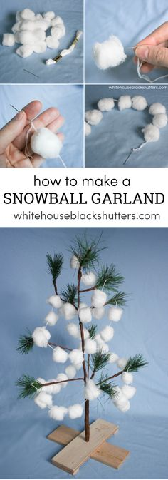 Make a quick and easy snowball garland. Costs about $2! Perfect for hanging on a tree or in the window, great project for kids.