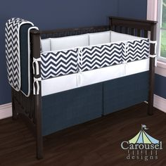Crib bedding in Solid Navy Minky, White Pimatex, White and Navy Zig Zag. Created using the Nursery Designer® by Carousel Designs where you mix and match from hundreds of fabrics to create your own unique baby bedding. #carouseldesigns