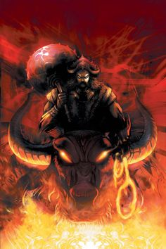 In Hinduism, Yama (Sanskrit: यम) or Yamarāja (यमराज) is the god of death, belonging to an early stratum of Vedic mythology. In the Vedas, Yama is said to have been the first mortal who died. By virtue of precedence, he became the ruler of the departed.There is a one-of-a-kind temple in Srivanchiyam, Tamil Nadu, India, dedicated to Yama. Yama subsequently entered Buddhist, Chinese, Tibetan, Korean, and Japanese mythology as a wrathful god under various transliterations.