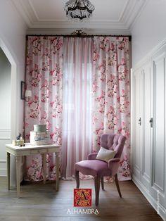Telas de flores y en rosa - Villalba Interiorismo