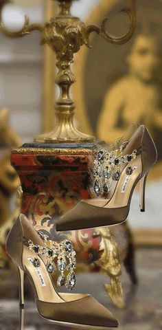 Manolo Blahnik ~ Embellished Satin Pumps                                                                                                                                                      More