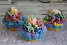 cupcake soap, soap cupcake, piped soap, piped cupcake soap, Russian tips piped soap, multi color soap, rainbow soap, bar soap, Mother Day by NicoleRoyalCreations on Etsy