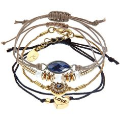 Accessorize 4 x Pretty Montana Friendship Bracelet Pack (10 CAD) ❤ liked on Polyvore featuring jewelry, bracelets, accessories, 27. bracelets & watches., joias, blue, friendship bracelet, blue stone jewelry, stacking bangles and stone bangles
